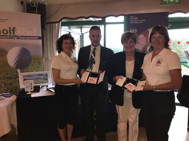 Ruairi (NCBI), Lady Captain (Malahide GC) presenting prizes to New Ross GC - 5th prize winners