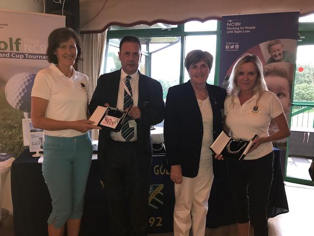 Ruairi (NCBI), Lady Captain (Malahide GC) presenting prizes to Wicklow GC - 2nd prize winners