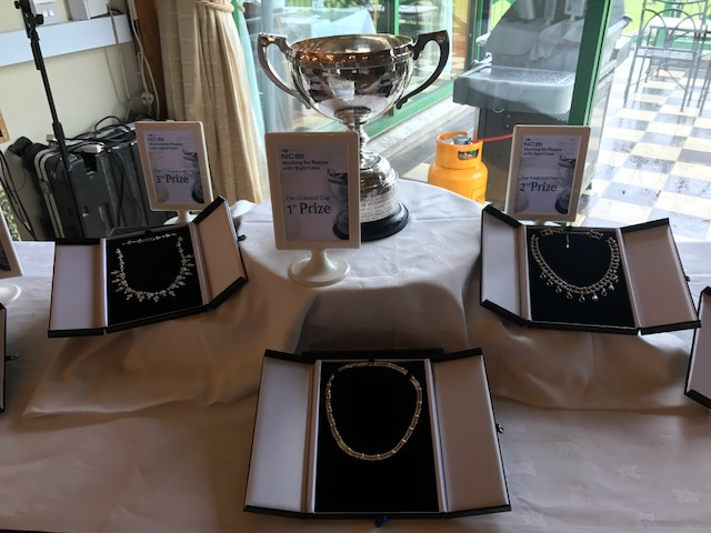 Close up of jewellery prizes display