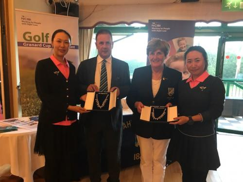 Ruairi (NCBI), Lady Captain (Malahide GC) presenting prizes to Elmgreen GC - 3rd prize winners